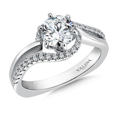 Valina Round Side Stone Engagement Ring R9306W