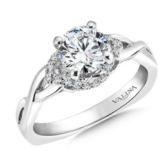Valina Round Side Stone Engagement Ring R9308W