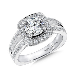 Valina Round Halo Engagement Ring R9309W