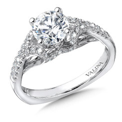 Valina Round Side Stone Engagement Ring R9326W