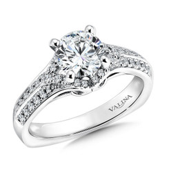 Valina Round Side Stone Engagement Ring R9335W
