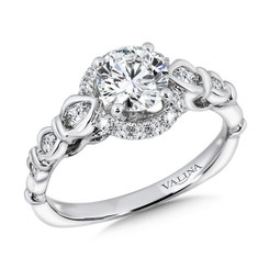 Valina Round Halo Engagement Ring R9376W