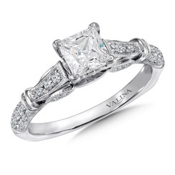 Valina Princess Cut Side Stone Engagement Ring R9386W