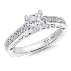 Valina Princess Cut Side Stone Engagement Ring R9398W