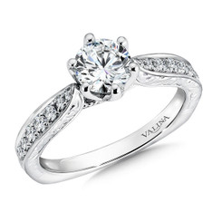 Valina Round Side Stone Engagement Ring R9401W