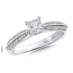Valina Cushion Shape Side Stone Engagement Ring R9404W
