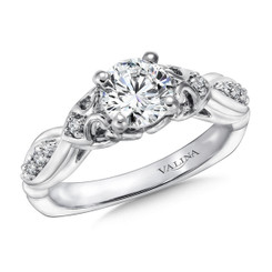 Valina Round Side Stone Engagement Ring R9406W