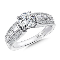 Valina Round Side Stone Engagement Ring R9425W