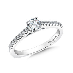 Valina Round Side Stone Engagement Ring R9438W