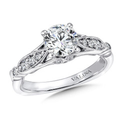 Valina Round Side Stone Engagement Ring R9444W
