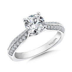 Valina Round Side Stone Engagement Ring R9466W