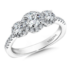 Valina Round 3 Stone Engagement Ring R9470W