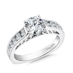 Valina Round Side Stone Engagement Ring R9472W