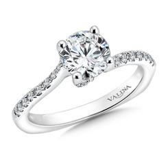 Valina Round Criss Cross Engagement Ring R9490W