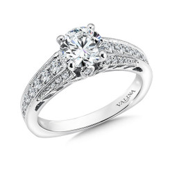 Valina Round Side Stone Engagement Ring R9493W