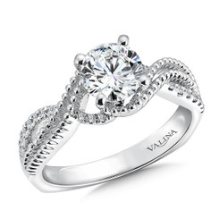 Valina Round Criss Cross Engagement Ring R9496W