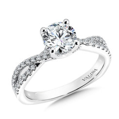 Valina Round Criss Cross Engagement Ring R9500W