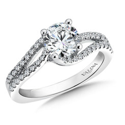 Valina Round Criss Cross Engagement Ring R9501W