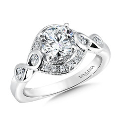 Valina Round Side Stone Engagement Ring R9506W