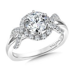 Valina Round Side Stone Engagement Ring R9508W
