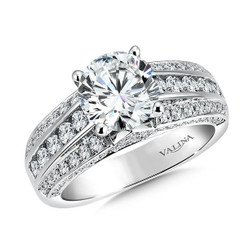 Valina Round Side Stone Engagement Ring R9517W