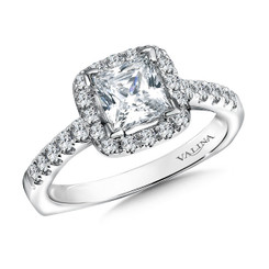 Valina Princess Cut Halo Engagement Ring R9518W