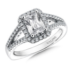 Valina Emerald Cut Halo Engagement Ring R9525W