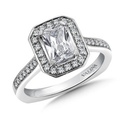 Valina Emerald Cut Halo Engagement Ring R9538W