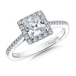 Valina Princess Cut Halo Engagement Ring R9543W