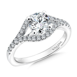 Valina Round Side Stone Engagement Ring R9545W