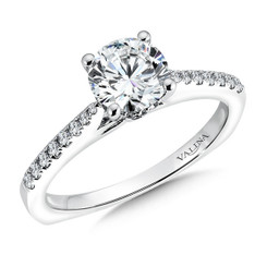 Valina Round Side Stone Engagement Ring R9550W