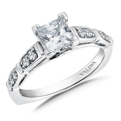 Valina Princess Cut Side Stone Engagement Ring R9556W