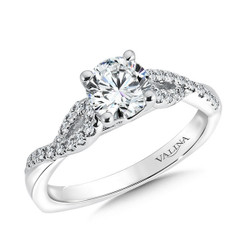 Valina Round Criss Cross Engagement Ring R9558W