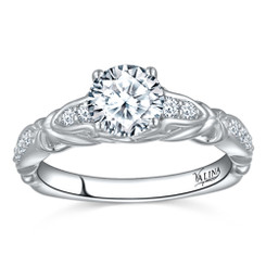 Valina Round Side Stone Engagement Ring R9563W