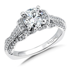 Valina Round Side Stone Engagement Ring R9565W