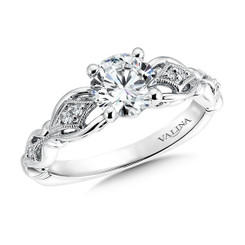 Valina Round Side Stone Engagement Ring R9569W
