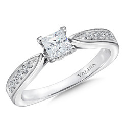 Valina Princess Cut Side Stone Engagement Ring RQ9400W