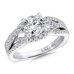 Valina Round Criss Cross Engagement Ring R9621W