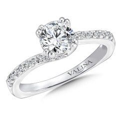 Valina Round Criss Cross Engagement Ring R9622W
