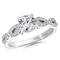 Valina Round Criss Cross Engagement Ring R9623W