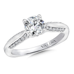 Valina Round Side Stone Engagement Ring R9624W