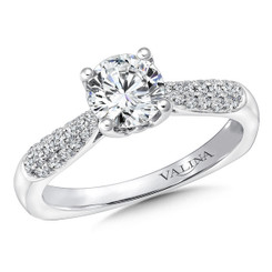 Valina Round Side Stone Engagement Ring R9632W
