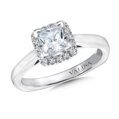Valina Princess Cut Halo Engagement Ring R9633W