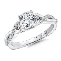 Valina Round Criss Cross Engagement Ring R9635W