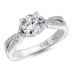 Valina Round Criss Cross Engagement Ring R9637W