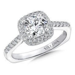Valina Round Side Stone Engagement Ring R9641W