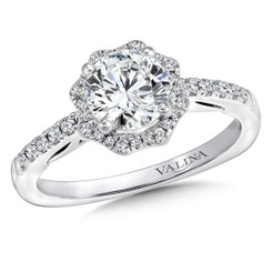 Valina Round Halo Engagement Ring R9647W