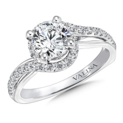 Valina Round Criss Cross Engagement Ring R9657W