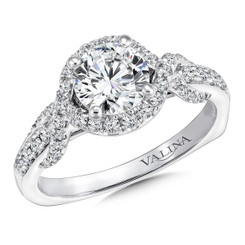 Valina Round Criss Cross Engagement Ring R9659W