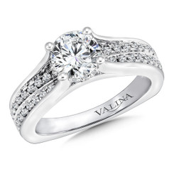 Valina Round Side Stone Engagement Ring R9661W